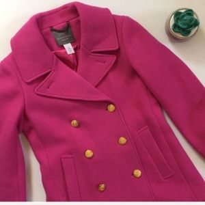 NWOT J. Crew Stadium Cloth majesty pea coat pink